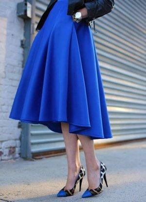 sokak stili midi etek modelleri mavi stiletto