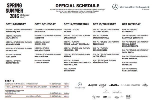 Mercedes-Benz Fashion Week İstanbul Ekim 2015 Takvimi