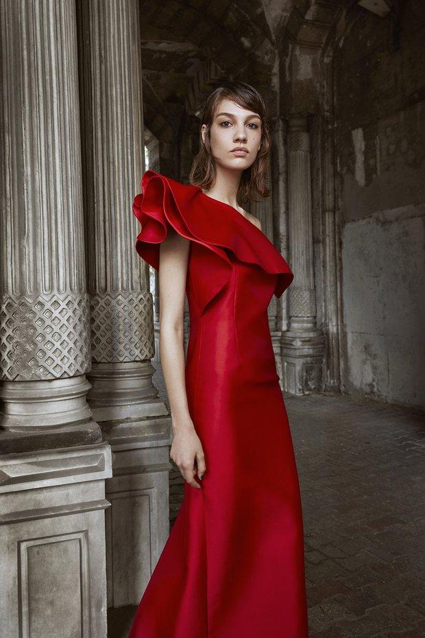 Machka gece elbisesi - kırmızı saten