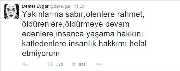 ünlülerin Ankara saldırısı hakkında tepkileri