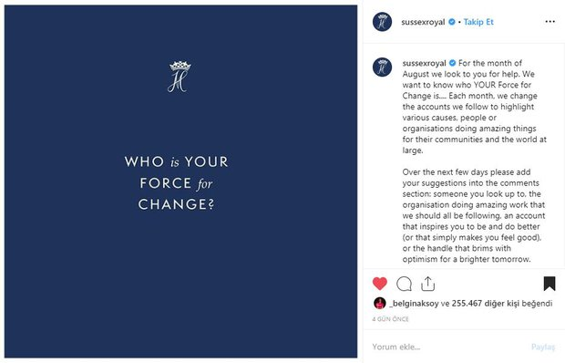 Susses Royal instagram paylaşımı
