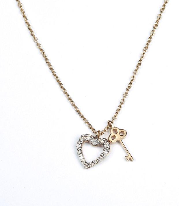 Pırlanta anahtar kalp kolye