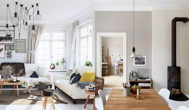 Beyaz duvarlar ve doğal ahşap