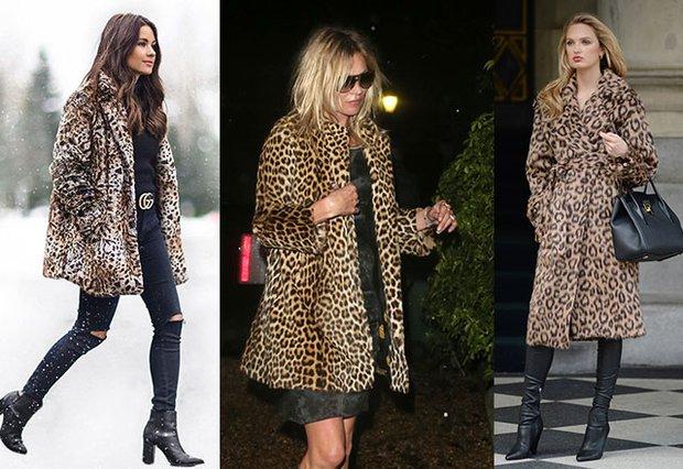 Leopar desenli yapay kürk palto ve kaban