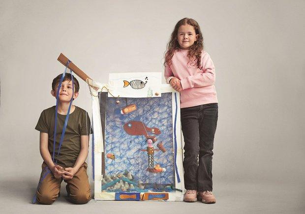 Julius ve kardeşinin Pandora & Unicef etkinliğindeki akvaryum tasarımı