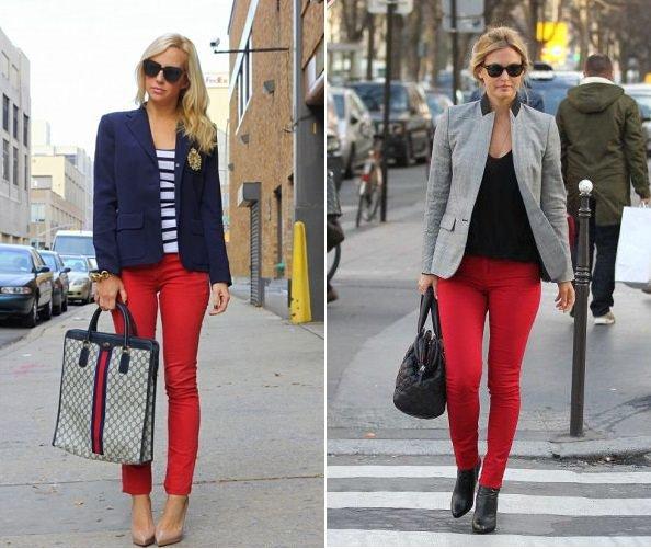 Kırmızı pantolon kombinleri