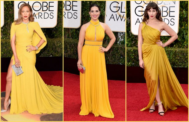 Jennifer Lopez; Giambattista Valli Haute Couture, America Ferrera; Jenny Packham, Lola Kirke; Monique Lhuillier