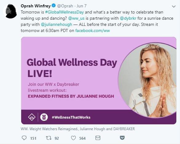 Oprah Winfrey Global Wellness Day kutlaması - Twitter