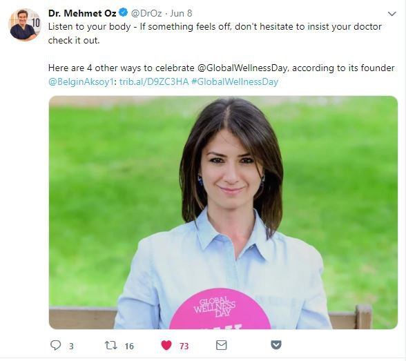 Dr. Oz global wellness day twitter paylaşımı