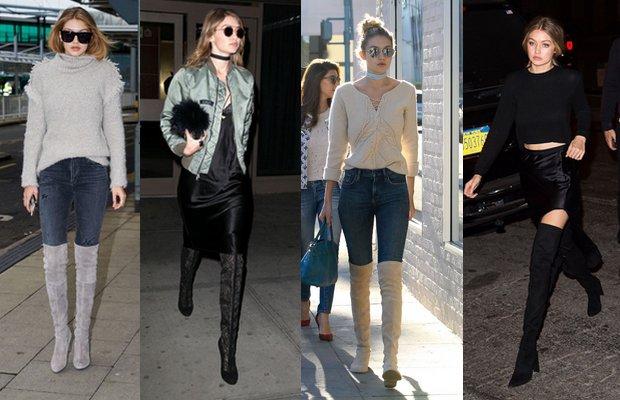 Gigi Hadid'in vazgeçilmezi: Dizüstü çizmeler