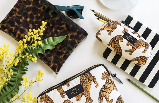 wouf leopard cosmetic bag small